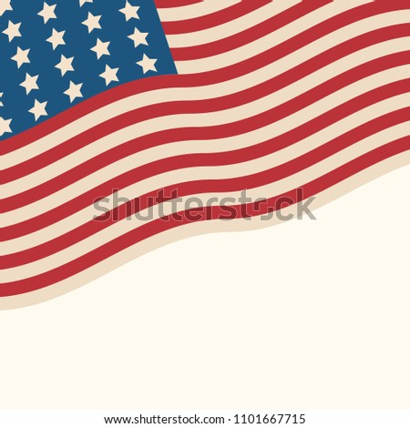 American flag patriotic background. United States blank frame with space for text. Independence day design template. Stars and stripes backdrop.  #1101667715