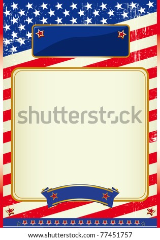 American flag poster with a frame A patriotic background for a poster