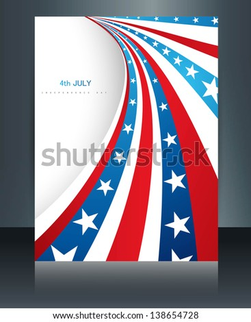 American flag 4th july american independence day brochure card reflection vector illustration