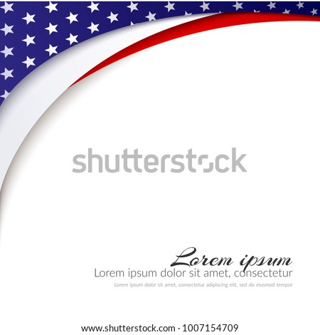 American Flag Vector background for Independence Day and other events Patriotic background with stars and smooth wavy lines Red white and blue color Abstract symbol Patriotic pattern Illustration