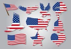 american flag vector set graphic clipart design