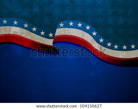 American Flag waving  on grungy background for 4th of July American Independence Day and other events or occasions. EPS 10.