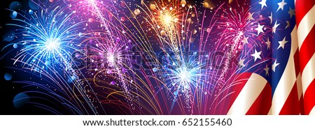 american flag with fireworks on