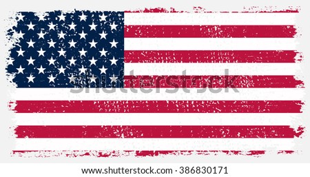 American flag with grunge texture.Grunge USA flag.Vector illustration. #386830171