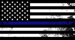 American flag with police support symbol, Thin blue line. Poster, card, banner, background