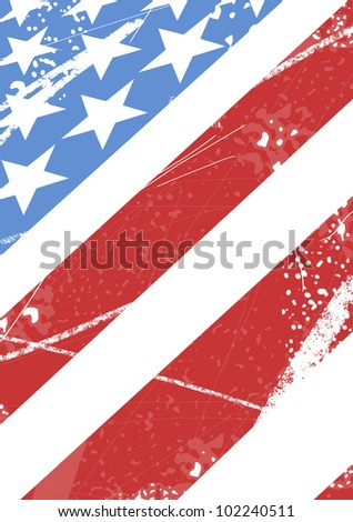 American flag with scratches