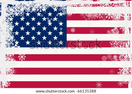 American flag with snowflakes grunge