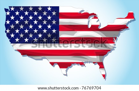 American flag with texture vector illustration