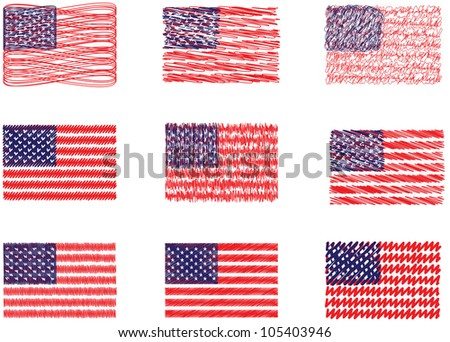 american flags - stock vector