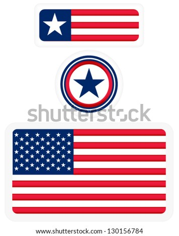 American flags and a badge - 3 matching design