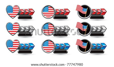 American flags, patriotic hearts and round patriotic pins