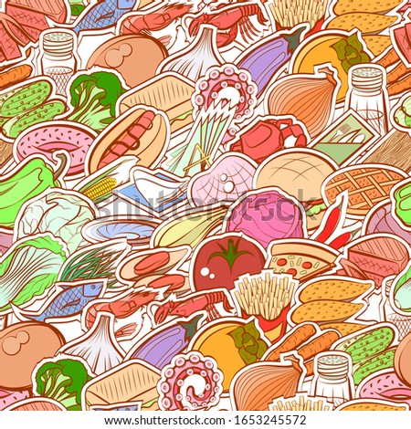 American food, Healthy food, Seafood and Table setting pattern. Background for printing, design, web. Seamless. Colored.