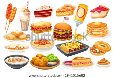 American food vector icon. Corn dog, clam chowder, biscuits and gravy, apple pie, blt, sandwich and buffalo wings. Red velvet cake, grits, monte cristo sandwich, pancakes, maple, spray cheese and ets