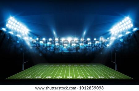 American football arena field with bright stadium lights design. Vector illumination - Shutterstock ID 1012859098