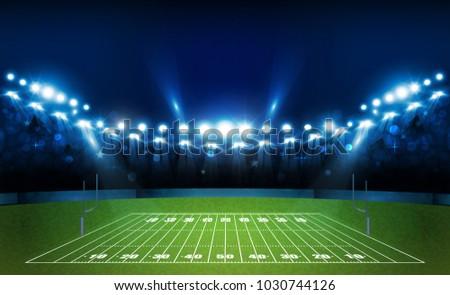 American football arena field with bright stadium lights design. Vector illumination - Shutterstock ID 1030744126