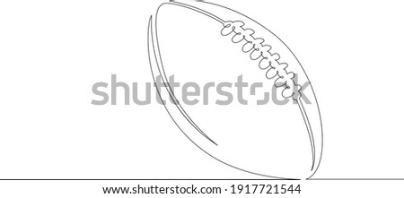 American football ball. Game sports equipment. One continuous drawing line  logo single hand drawn art doodle isolated minimal illustration. Foto stock ©
