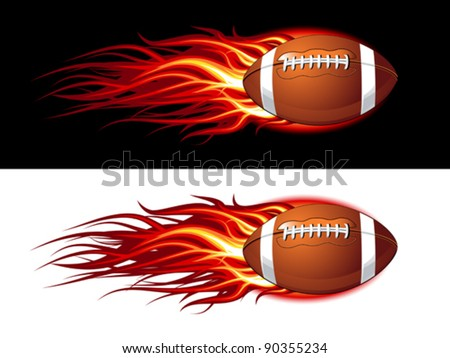 American football ball on fire