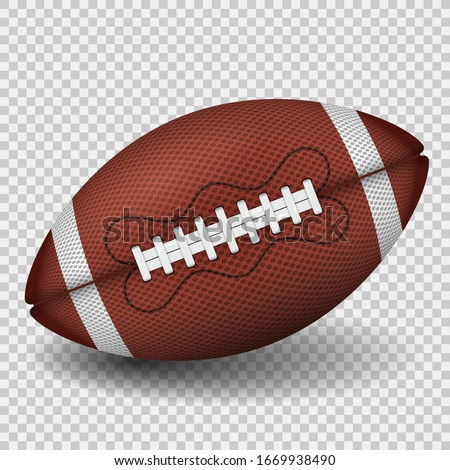 American football ball. realistic icon. front view american rugby ball. vector illustration isolated on transparent background