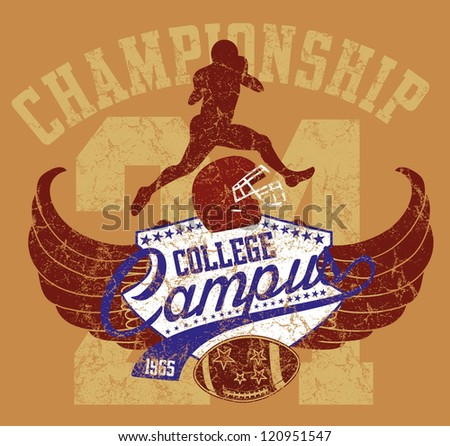 american football college team - stock vector