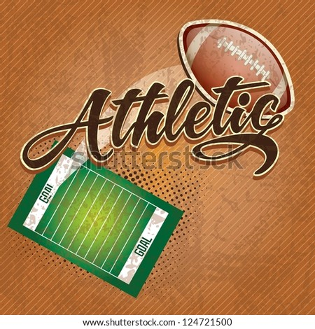 American  football field, athletic team. on retro background