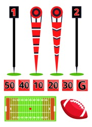 American football field equipments set. Flat cartoon vector illustration icons on white background. Marking for field with ball. Referee set for american football.  40th,10th,20th,30th,50th yard.Sport