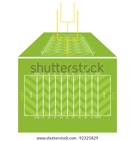 American football field view from above and perspective.