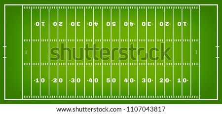 American football field with marking. Football field in top view with white markup. Vector
