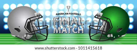 American football final match concept. Silver, green Helmets and football on field with spotlight background. Advertising template for banner, wallpaper, webpage or billboard. Vector Illustration.