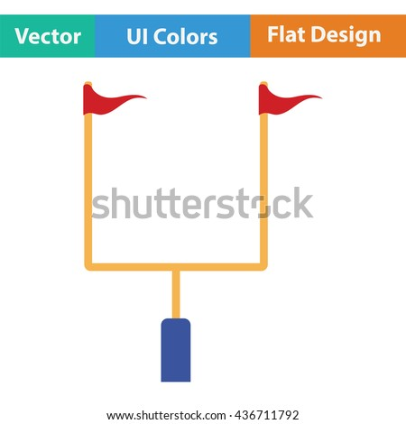American football goal post icon. Flat color design. Vector illustration.