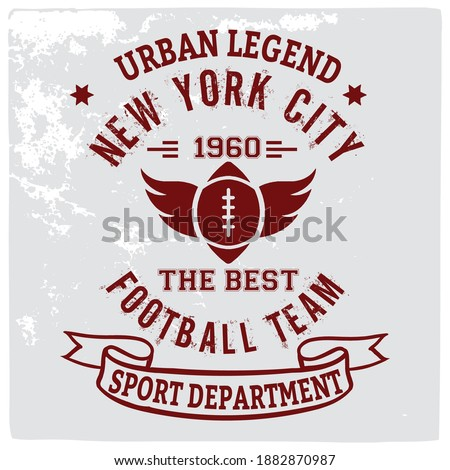 American football graphic, Old school vector graphic for fashion and printing. Retro artwork and typography. Tee shirt vector graphics. Photo stock ©