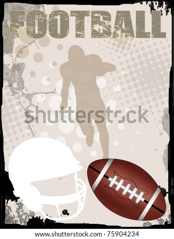 American football grungy background, vector illustration