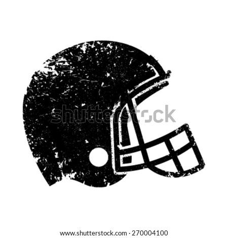 American Football Helmet in black rough distressed texture style vector icon