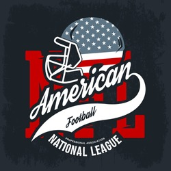 American football helmet tee print vector design isolated on dark background. Superior United States flag emblem. Premium quality t-shirt rugby retro sport logo concept.