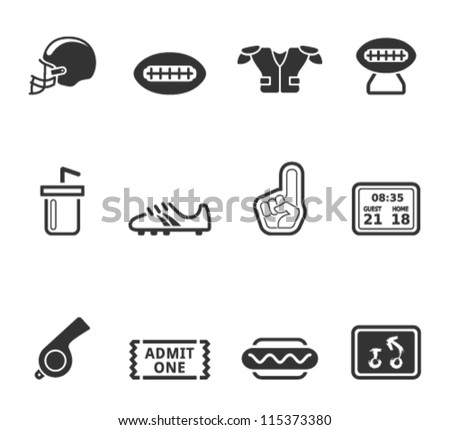 American Football icon series in single color - stock vector