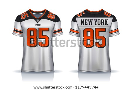 American Football Jerseyt Shirt Sport Design Templateuniform Front And Back View