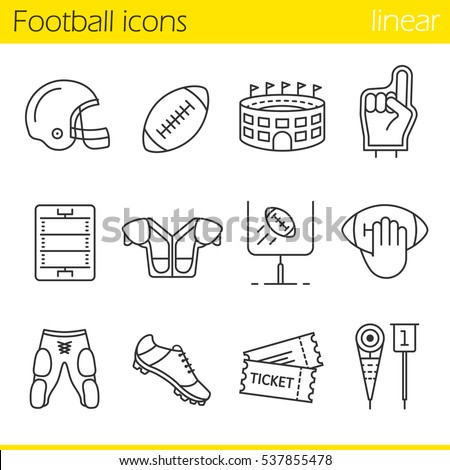 American football linear icons set. Helmet, shoulder pad, ball, shorts, Hand holding ball, goal sign,foam finger, game tickets, arena. Thin line contour symbols. Isolated vector illustrations