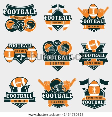 American football logos and badges collection. Vector football logos in orange and dark green colors for championships, uniform, stickers and football fan supplies.