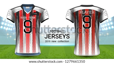 2cfd7da51a2 American Football or Soccer Jerseys Uniforms, T-Shirt Sport Mockup Template  Front and Back