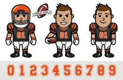 American football player cartoon set (grey)