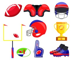 American football player equipment. Flat cartoons vector illustration icons. Isolated on white background. American football accessories: helmet, shoes, cup, goal, ball, fan hand, field, protection.