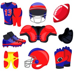 American football player equipment. Flat cartoons vector illustration icons. Isolated on white background. American football accessories:  sport wear, protection, helmet, shoes, glove,ball. Sport gear