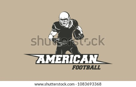 American football player logo silhouette, American Football logo