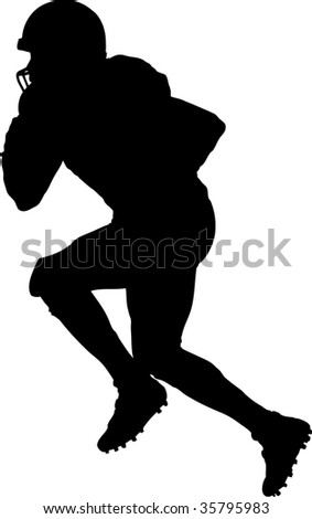 american football player running with ball - stock vector
