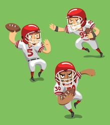 American Football Player with Ball in field, vector illustration cartoon.