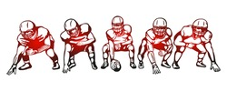 American football players team Vector illustration - Hand drawn - Out line