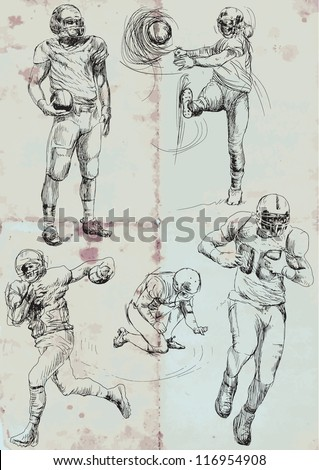 American football players. Vector hand drawn illustration. Collection of drawings (each on a separate layer) on vintage paper in blue color (the paper is separated in the lower layer).