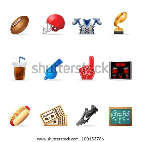 American Football related icons. Transparent shadows placed on layer beneath.