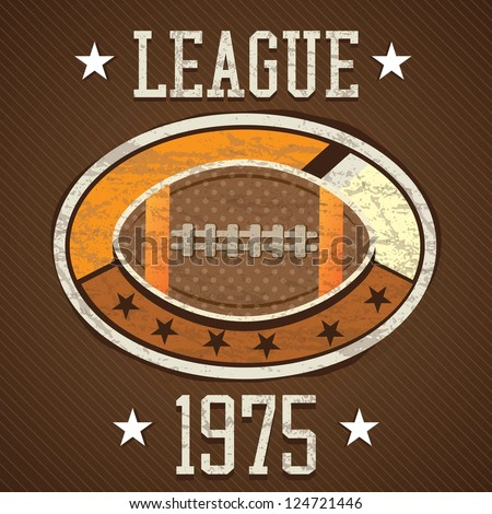 American Football retro label 1975 league, on brown background