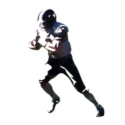 American football, running player with ball. Abstract geometric silhouette