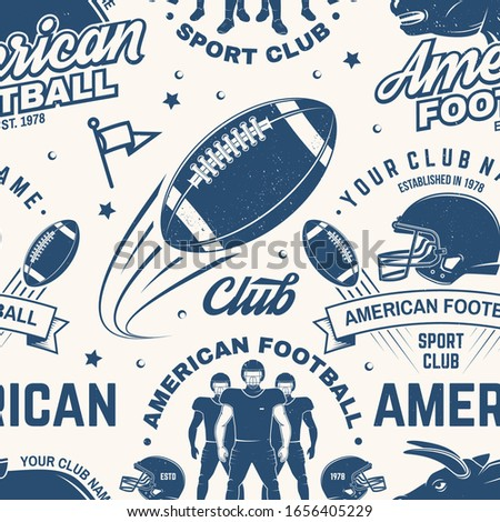 American football seamless pattern, background. Vector illustration. Seamless sport pattern with bull, sportsman player, helmet, ball and shoulder pads silhouette. American football sport club texture